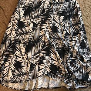Black & White Floral Ruffle A Line Skirt